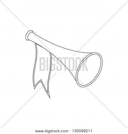 Trumpet with flag icon, isometric 3d style isolated on white background. Black illustration