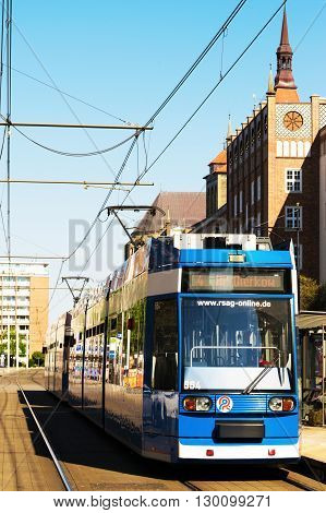 ROSTOCK, GERMANY - MAY 12, 2016: Rostocker Strassenbahn AG - RSAG - is the transport company in the city of Rostock and operates 6 tram and 22 bus lines.