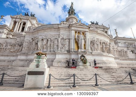 Rome, Italy - May 12, 2016: guards standing in the National Monument the Vittoriano or Altare della Patria, in Piazza Venezia, one of the Italian and Rome patriotic symbols, located on the Campidoglio