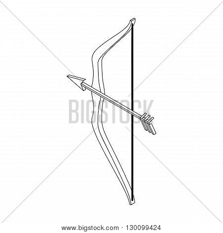 Bow and arrow icon in isometric 3d style isolated on white background