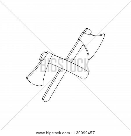 2 crossed axe icon in isometric 3d style isolated on white background