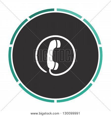 Telephone Simple flat white vector pictogram on black circle. Illustration icon