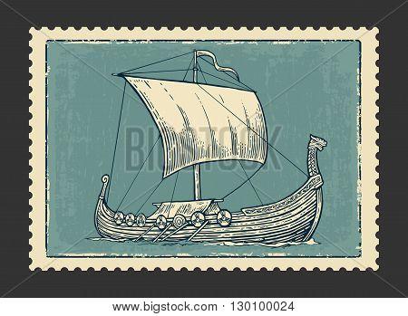 Drakkar floating on the sea waves.  Hand drawn design element sailing ship. Vintage vector engraving illustration for poster, label, postmark. Isolated on dark background