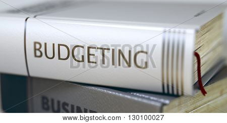 Book Title on the Spine - Budgeting. Business Concept: Closed Book with Title Budgeting in Stack, Closeup View. Budgeting - Book Title. Blurred 3D Illustration.