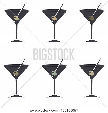 gray icons with a martini glass. Olives in different colors
