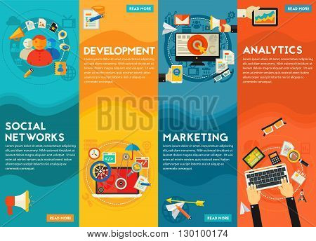 Flat vertical vector concept banners. Digital Marketing Concept - social marketing and networking, development and coding, digital and email marketing, analytics and SEO