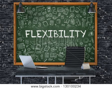 Green Chalkboard on the Dark Brick Wall in the Interior of a Modern Office with Hand Drawn Flexibility. Business Concept with Doodle Style Elements. 3D.
