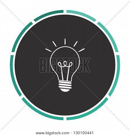 Light lamp Simple flat white vector pictogram on black circle. Illustration icon
