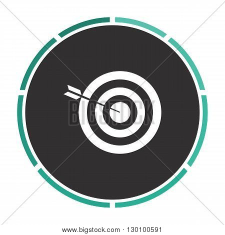bullseye Simple flat white vector pictogram on black circle. Illustration icon