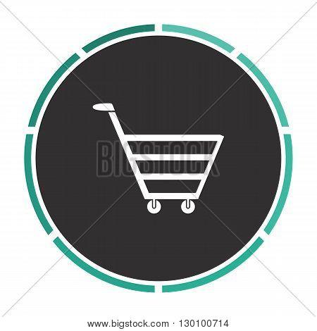 cart Simple flat white vector pictogram on black circle. Illustration icon