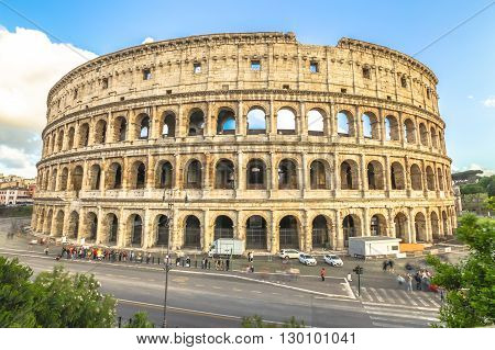 Aerial view of Colosseo, Colosseum, Flavian Amphitheatre, the largest amphitheater in the world and one of the symbols of Italy. Symbol of Rome, located in historical center, Unesco Heritage Site.