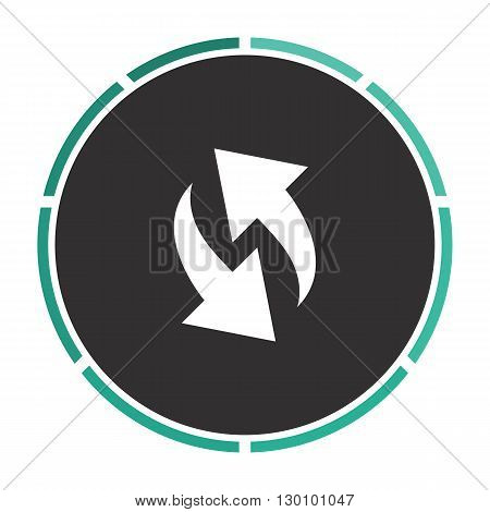 reload Simple flat white vector pictogram on black circle. Illustration icon