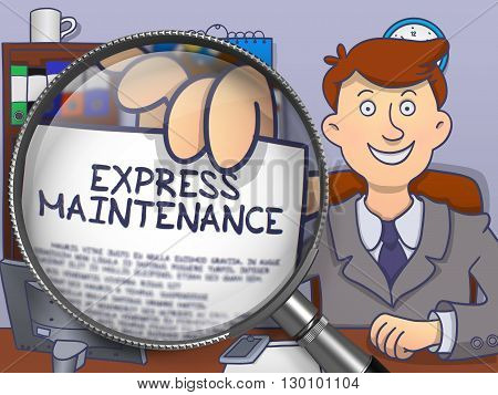 Man in Suit Looking at Camera and Holding a Paper with Text Express Maintenance Concept through Lens. Closeup View. Multicolor Modern Line Illustration in Doodle Style.