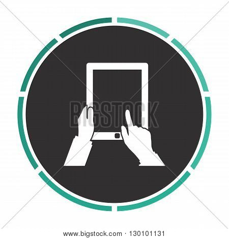Tap Tablet Simple flat white vector pictogram on black circle. Illustration icon