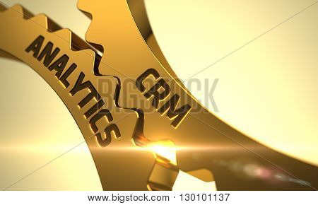 CRM Analytics - Concept. CRM Analytics Golden Gears. CRM Analytics on Mechanism of Golden Cogwheels. Golden Metallic Cog Gears with CRM Analytics Concept. 3D Render.