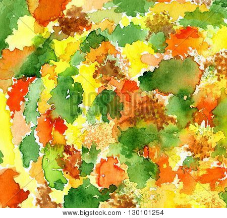 Bright watercolor background with abstract blots pattern