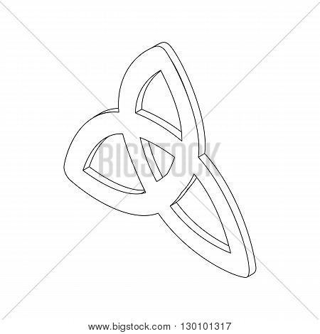 Triquetra celtic knot symbol icon, isometric 3d style. Black illustration on white for  web