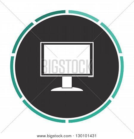 PC monitor Simple flat white vector pictogram on black circle. Illustration icon