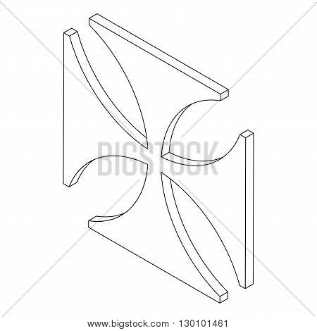 Cross symbol icon, isometric 3d style. Black illustration on white for web