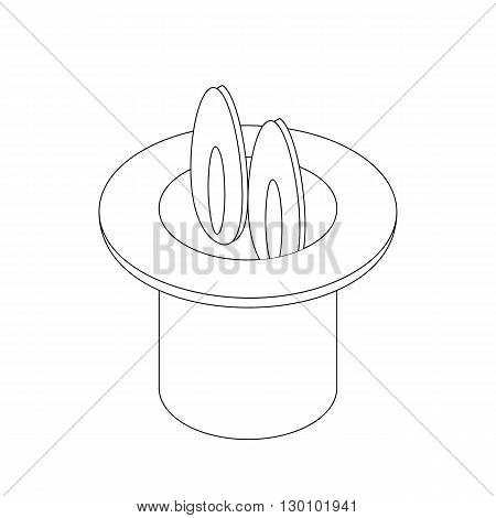 Rabbit in hat cylinder icon, isometric 3d style. Magic trick. Black illustration