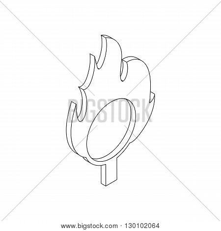 Burning hoop icon, isometric 3d style. Black illustration on white for web