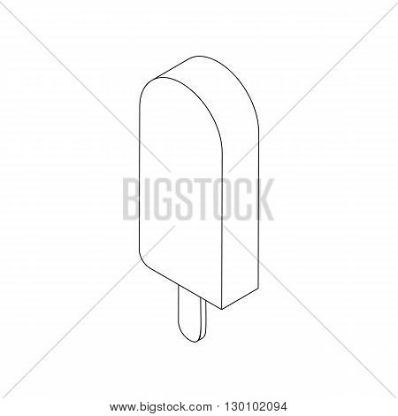 Ice cream lolly icon, isometric 3d style. Black illustration on white for web