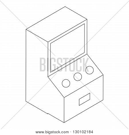 Game arcade machine icon, isometric 3d style. Black illustration on white for web