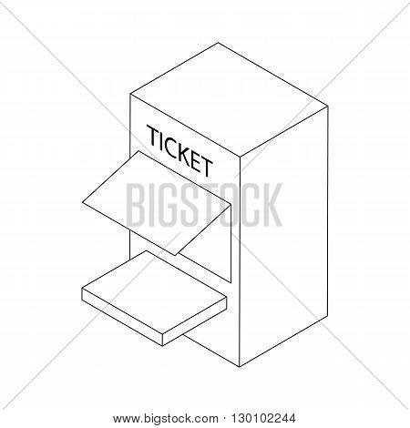 Ticket window icon, isometric 3d style. Black illustration on white for web