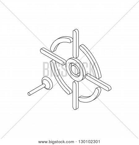 Darts icon, isometric 3d style. Black illustration on white for web