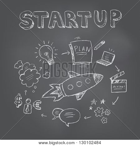 Start up concept. Seamless hand drawn pattern. Vector illustration