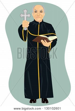 angry senior priest holding a holy bible and cross