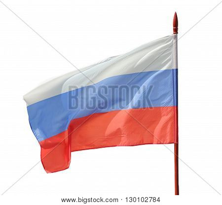 Russian flag flutter on the wind. Isolation on a white background. Clipping path.