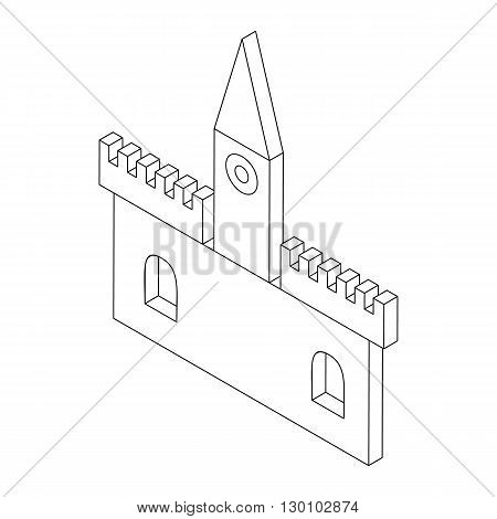 Castle icon in isometric 3d style isolated on white background