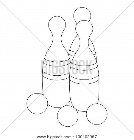 Bowling ball and skittles icon in isometric 3d style isolated on white background