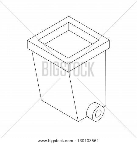 Dumpster on wheels icon in isometric 3d style isolated on white background. Cleaning