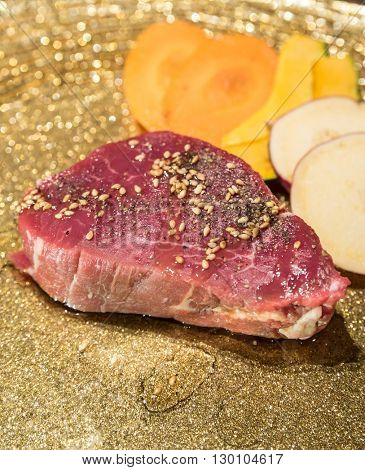Freshness Japanese wagyu fillet meat BBQ yakiniku