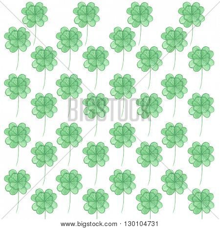 Pattern with watercolor clover. Pattern for St. Patrick's Day. Isolated clover on white background