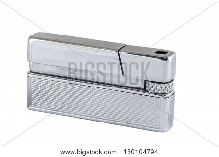Silver metal lighter isolated on white background closeup clipping path