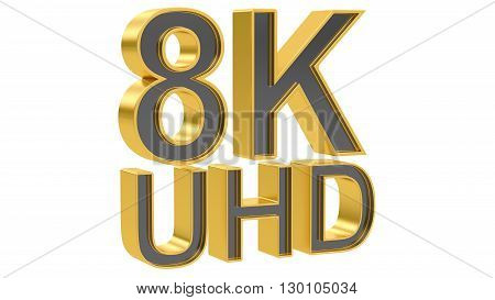 8K Ultra HD concept 3D rendering isolated on white background