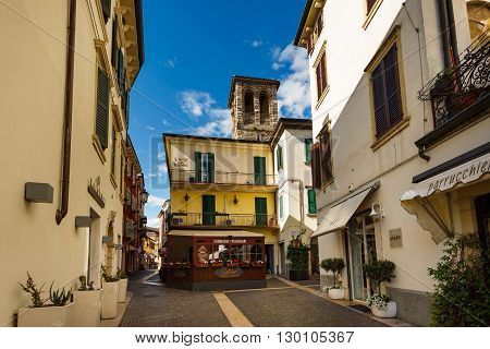 Peschiera del Garda Italy - May 03 2016: View of the deserted street in the pedestrian area of the old town