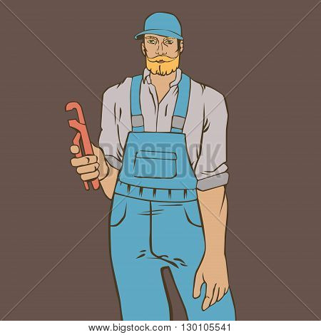 Vector illustration with hipster man plumber in cool retro style
