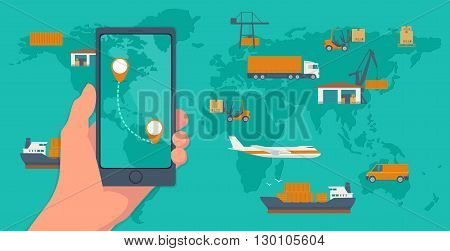 Phone with interface mobile app for cargo service on a screen. Logistic concept flat banner production process from factory to the shop. Top view world map with warehouse, ship, truck, aircraft, car