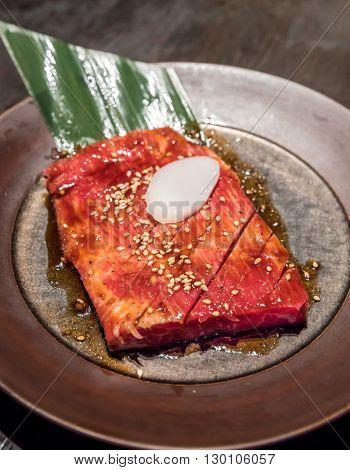 Freshness Japanese kalbi wagyu  meat BBQ yakiniku