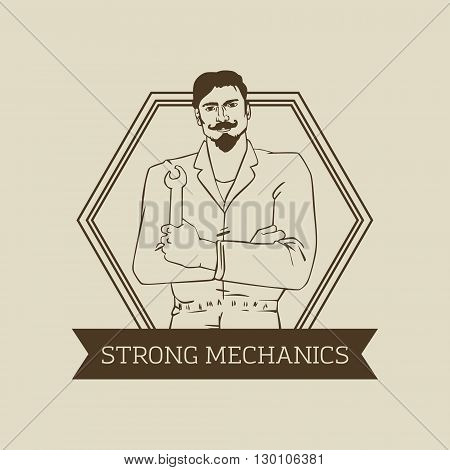 Vector logo or badge design with hipster man Auto Mechanic in cool retro style