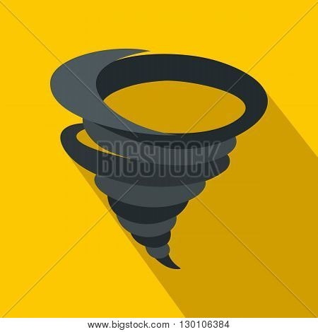 Tornado icon in flat style on a yellow background