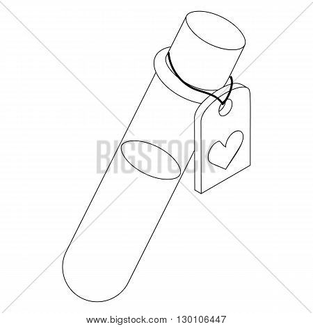 Test tube of love elixir icon in isometric 3d style on a white background