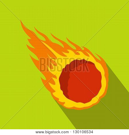Falling meteor with long tail icon in flat style on a green background
