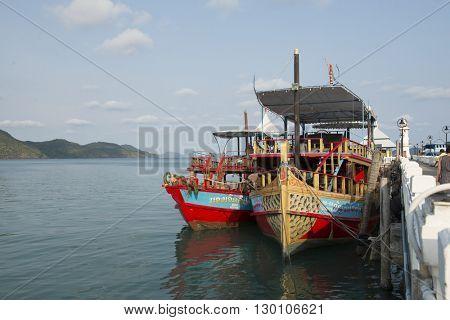 BANG BAO, THAILAND - MAY 01, 2016: Tourist ships anchored at the pier of Bang Bao village. Koh Chang island. Province Trat.