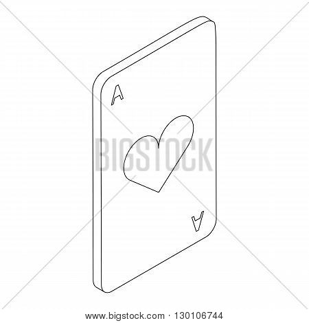 Ace of hearts icon in isometric 3d style on a white background