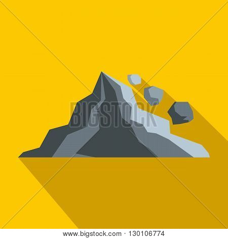 Rockfall icon in flat style on a yellow background